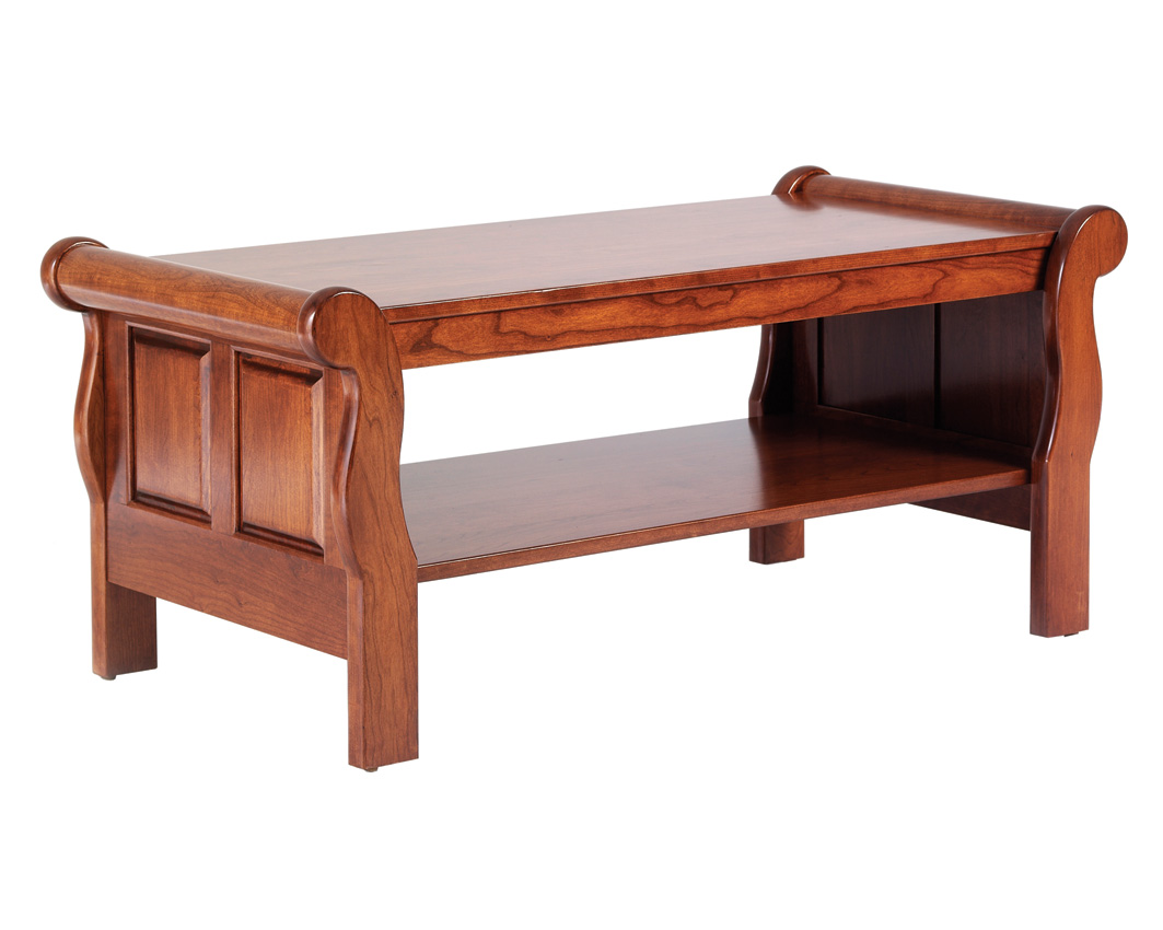 Sleigh coffee table amish furniture designed