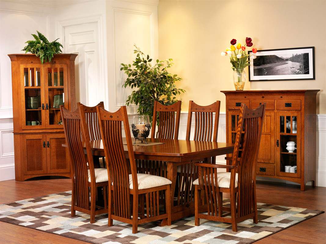 santa rosa trestle dining table set mission style dining room